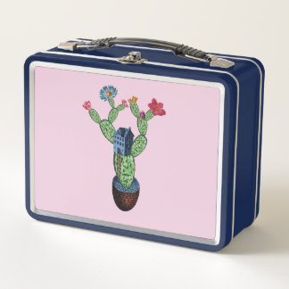 Prickly cactus with flowers metal lunch box