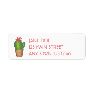 Prickly Green Cactus Flower Potted Plant Address Label