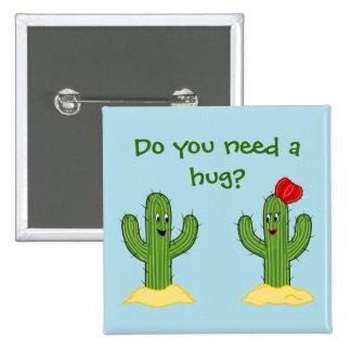 Prickly Pair Cartoon Cactus Guy & Gal Button