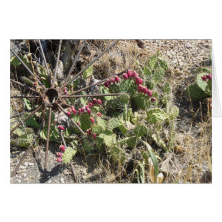 Prickly Pear Cactus and Old Wagon Wheel Card