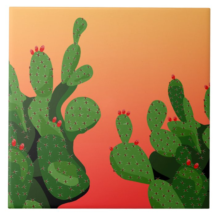 Prickly Pear Cactus Arizona Home Decor Tile Zazzle Com