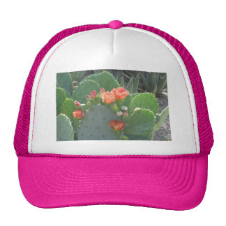 Prickly Pear Cactus Green Red Bloom Trucker Hat