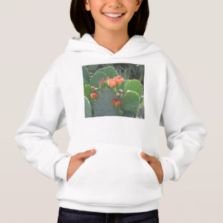 Prickly Pear Cactus Green Red Bloom Hoodie