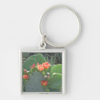 Prickly Pear Cactus Green Red Bloom Keychain