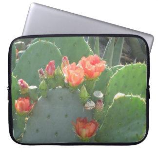 Prickly Pear Cactus Green Red Bloom Laptop Sleeves