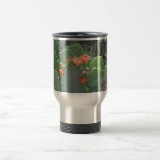 Prickly Pear Cactus Green Red Bloom Travel Mug