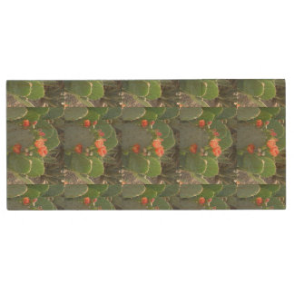 Prickly Pear Cactus Green Red Bloom Wood USB 3.0 Flash Drive