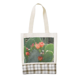 Prickly Pear Cactus Green Red Bloom Zazzle HEART Tote Bag