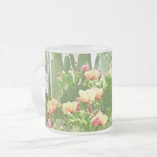 Prickly Pear Cactus in Bloom Frosted Mug
