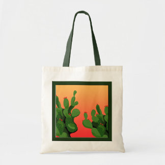 Prickly Pear Cactus Sunset Canvas Tote Bag