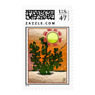 prickly pear faux printed stained glass postage