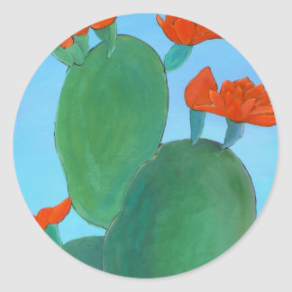 Prickly Pear in Bloom Classic Round Sticker