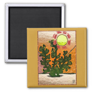 prickly pear stained glass 2 inch square magnet
