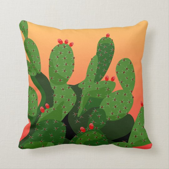 Prickly Pear Sunset American Mojo Throw Pillow