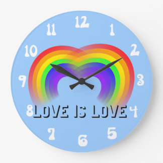 Pride and Equality Love is Love Large Clock