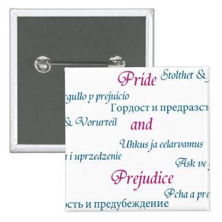 Pride and Prejudice around the world. 15 Cm Square Badge