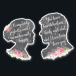 "Pride and Prejudice Book Quote Mr Darcy Elizabeth Sticker<br><div class=""desc"">Elizabeth Bennett and Mr Darcy cameo silhouette stickers with matching romantic quotes from Pride and Prejudice - ""You have bewitched me body and soul,  and I love,  I love,  I love you"" & ""Completely,  perfectly and incandescently happy"". Decorate your laptop,  tablet,  notebook,  suitcase or any other item / wall.</div>"