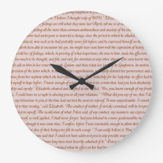 Pride and Prejudice Quote Large Clock