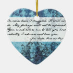 Pride and Prejudice Quote Double-Sided Heart Ceramic Christmas Ornament