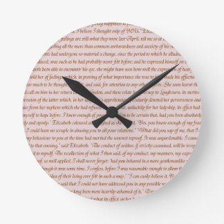 Pride and Prejudice Quote Round Clock