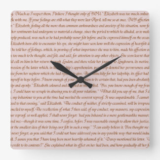 Pride and Prejudice Quote Square Wall Clock