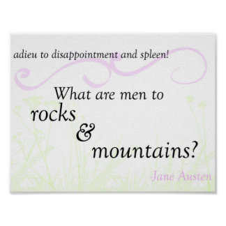 """Pride and Prejudice """"Rocks and Mountains"""" Poster"""