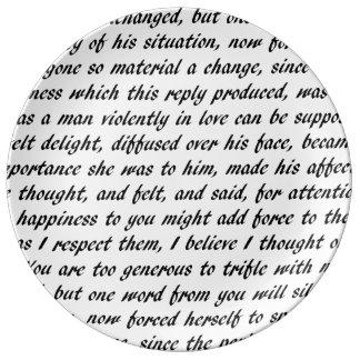 Pride and Prejudice Text Porcelain Plate