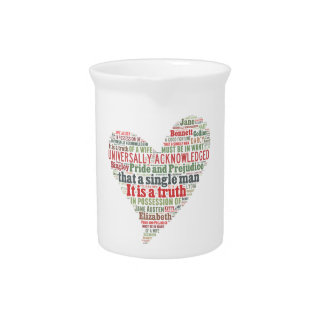 Pride and Prejudice Word Cloud Drink Pitcher