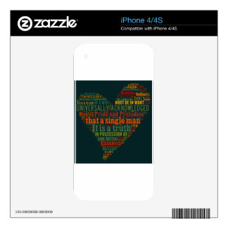 Pride and Prejudice Word Cloud iPhone 4S Decal