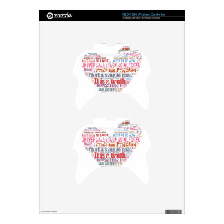 Pride and Prejudice Word Cloud Pink Xbox 360 Controller Skins
