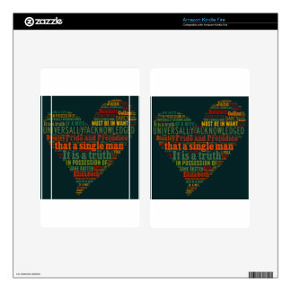 Pride and Prejudice Word Cloud Skins For Kindle Fire