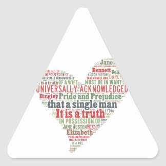 Pride and Prejudice Word Cloud Triangle Sticker