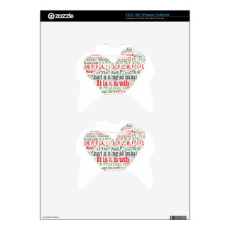 Pride and Prejudice Word Cloud Xbox 360 Controller Decal