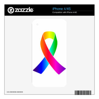 Pride Awareness Rainbow Ribbon gifts Skins For The iPhone 4S