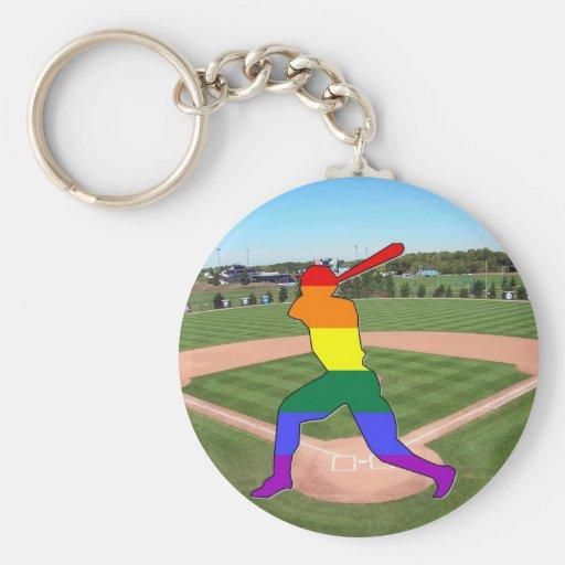 Pride Baseball Basic Round Button Keychain