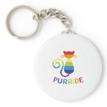 Pride Colorful LGBT Ca Rainbow Cat Lover Gift Keychain