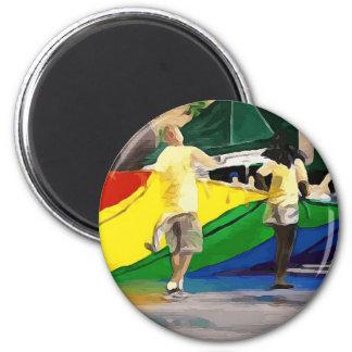 Pride Flag in Parade Magnet