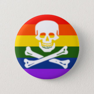 Pride Flag skull and cross bones Button