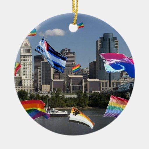 Pride Flags Over Cincinnati Christmas Ornament