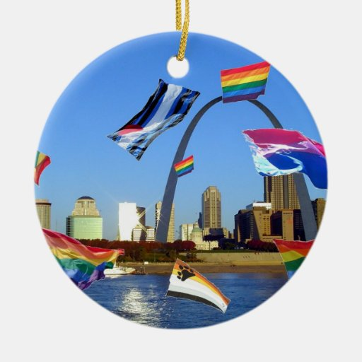 Pride Flags Over St. Louis Christmas Tree Ornament
