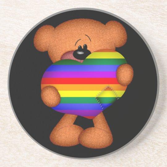 Pride Heart Teddy Bear Coaster