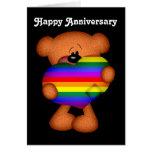 Pride Heart Teddy Bear Happy Anniversary Greeting Card