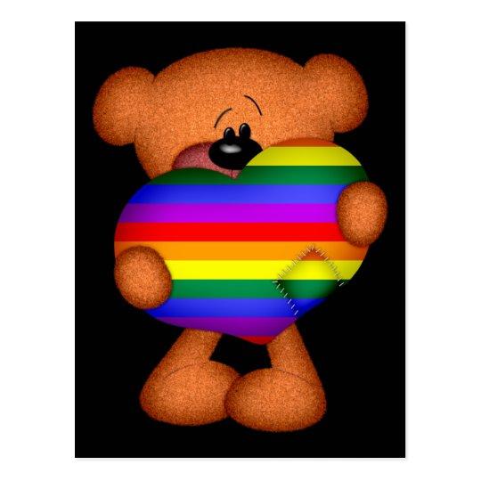 Pride Heart Teddy Bear Postcard