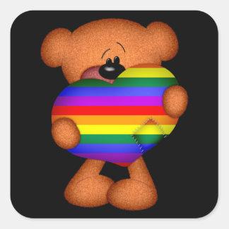 Pride Heart Teddy Bear Square Sticker
