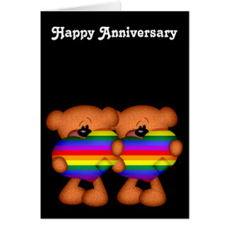 Pride Heart Teddy Bears Happy Anniversary Greeting Cards