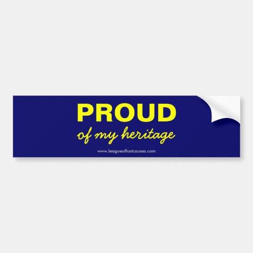 """""""Pride in Heritage"""" bumper sticker"""