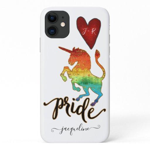 Pride Month Unicorn Colorful Rainbow Glitter Name iPhone 11 Case