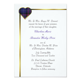 Pride of Scotland Modern Plaid Heart Wedding Card