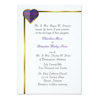 Pride of Scotland Plaid Heart Wedding Invitation