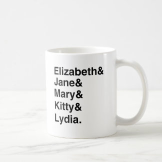 Pride & Prejudice - Bennett Girls' Names Classic White Coffee Mug